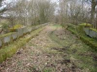 View east across the Kirkdale Viaduct, west of Kirkbymoorside, with the parapet intact complete with remains of the metal safety fencing still in situ. I was informed that the scouting organisation use the viaduct to absail down to the ground alongside the Hodge Beck. <br><br>[David Pesterfield&nbsp;01/03/2017]