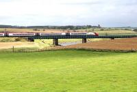 The 1200 Glasgow Central - London Euston runs over Float Viaduct shortly after passing Carstairs on 31 August 2016.<br><br>[John Furnevel&nbsp;31/08/2016]