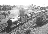 LNER 4-4-0 6382 <I>Colonel Gardiner</i> double heads an unidentified Atlantic north past Dalmeny Junction in the 1930s. <br><br>[Dougie Squance (Courtesy Bruce McCartney)&nbsp;//]