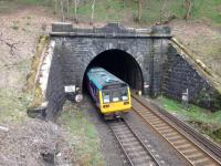 Into the Totley Tunnel goes a 142 Pacer, just east of Grindleford.<br><br>[Bruce McCartney&nbsp;01/04/2017]