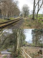 Two images of the Eden Valley Railway at Warcop. The upper view looks north west showing the railway running alongside the fence of Warcop army camp towards Appleby. The lower image looks back towards Warcop station, its approach road and the EVR preservation base on 15th April 2017.  [Ref query 997]<br><br>[Mark Bartlett&nbsp;15/04/2017]