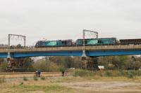 88002 <I>Prometheus</I> and 68025 <I>Superb</I> turn a few heads as they cross the River Lune on Carlisle Bridge with the northbound test train on 6th April 2017. The similarities between the two locos is very noticeable in this side view.  <br><br>[Mark Bartlett&nbsp;06/04/2017]