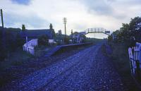 Looking south, in failing light, from the track bed to Belses station in 1974.<br><br>[Jim Scott //1974]