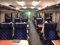 Interior view of the Buffet Open First type lounge car on the Caledonian Sleeper. These are Mk2f coaches built in the early 1970s and converted about 15 years later. Unlike the other lounge cars, these have normal fixed seating facing toward or away from the direction of travel. New Caledonian Sleeper rolling stock is due to be introduced in 2018.<br><br>[Colin McDonald&nbsp;05/04/2017]