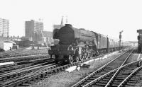 The 12.45pm Kings Cross - Newcastle about to run through Doncaster station on 31 May 1963. The locomotive is Gresley A3 Pacific no 60046 <I>Diamond Jubilee</I>.<br><br>[K A Gray&nbsp;31/05/1963]