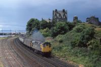 27205 powers past Burntisland on an Edinburgh - Perth service on 17th July 1981.<br><br>[Graeme Blair&nbsp;17/07/1981]