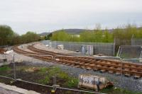New track has appeared leading from the main line, into the site for the new Blackburn TMD, as seen from a passing train on 19 April 2017.<br><br>[John McIntyre&nbsp;19/04/2017]