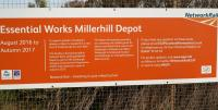 Information board about the new Millerhill Depot attached to the fence alongside Whitehill Road on 23 April 2017.<br><br>[John Furnevel&nbsp;23/04/2017]