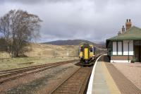 A double class 156 DMU approaches from the north. It will combine with a single unit from Oban at Crianlarich before continuing to Glasgow Queen Street.<br><br>[Colin McDonald&nbsp;12/04/2017]