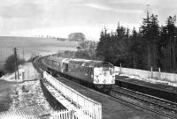 D5307 passing south through Stobs station with an engineer's inspection saloon on 1 April 1970.<br><br>[Bruce McCartney&nbsp;01/04/1970]