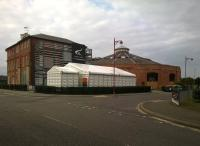 There may not be much left of the Midland Railway works in Derby, but the Roundhouse is in good condition. Seen from the rear entrance to the station.<br><br>[Ken Strachan&nbsp;13/09/2014]