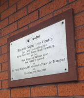 The plaque on Banavie Signalling Centre, celebrating its opening in 1988.<br><br>[John Yellowlees&nbsp;02/04/2017]