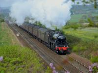 45212 climbs away from Inverkeithing East Junction with the Great Britain X from Edinburgh to Inverness on 30 April.<br><br>[Bill Roberton&nbsp;30/04/2017]