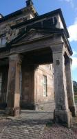 One of the the southern, harbourside, of the two pedimented porches of the original Burntisland station building of 1847.<br><br>[Alan Cormack&nbsp;20/04/2017]