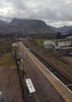 A view from the signalling centre east over Banavie station towards Ben Nevis and Fort William.<br><br>[John Yellowlees&nbsp;02/04/2017]