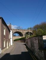 Kinghorn viaduct,  4 arches, taken from the coastal path, a small car repair garage is located under one of the arches,  the name of the street on the white house is Sinclairs entry.<br><br>[Alan Cormack&nbsp;23/04/2017]