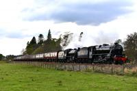 After a water stop at Kingussie, Black 5 No.45212 and K1 No.62005 power<br> up the gradient towards Kincraig with <i>The Great Britain X</i>.<br><br>[John Gray&nbsp;01/05/2017]