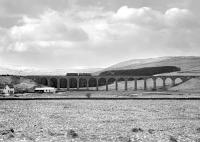 View west towards Shankend Viaduct on 1 April 1970 as D5307 crosses with an engineer's inspection coach.<br><br>[Bruce McCartney&nbsp;01/04/1970]