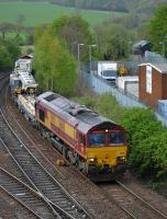 66148 passes Inverkeithing Central Junction with an Elgin - Millerhill engineers working, with 66050 on the rear.<br><br>[Bill Roberton 30/04/2017]