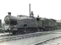 LNER Class Q1 0-8-0T 69925 stabled at Eastfield on 16 April 1954 with B1 4-6-0 61342 standing beyond.<br><br>[G H Robin collection by courtesy of the Mitchell Library, Glasgow&nbsp;16/04/1954]