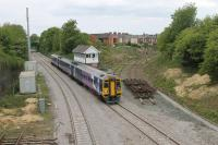 The Fleetwood line junction at Poulton, which was relaid around ten years ago but never used, has been removed prior to electrification. On 6th May 2017, 158759 passes the lifted track sections as it slows for the station stop on a York service. [See image 19029] for an earlier view from the same vantage point. <br><br>[Mark Bartlett&nbsp;06/05/2017]