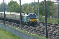 88002 with the Northern Belle charter stock, heads north approaching Farington Jct with a London to Carlisle VIP special on 09 May 2017.<br><br>[John McIntyre&nbsp;09/05/2017]