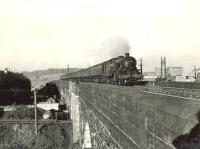 A down Largs train crossing the viaduct at Elderslie on 5 May 1959. The locomotive is Ardrossan shed's Fairburn 2-6-4T 42697.<br><br>[G H Robin collection by courtesy of the Mitchell Library, Glasgow&nbsp;05/05/1959]