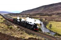 A welcome return of steam on the Highland Main Line ,Black 5 No.45212 and<br> K1 No.62005 are pictured north of Dalwhinnie with <i>The Great Britain X </i>. There is no headboard on the lead locomotive.<br><br>[John Gray&nbsp;01/05/2017]