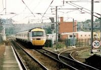A BR InterCity 125 HST runs south west through Slateford station in 1990.<br><br>[John Furnevel&nbsp;//1990]