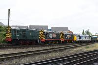 The GCR held a Gala day over this weekend, specialising in freight trains mixed in with the usual passenger workings. The locos took turns to work either type of train.<br> <br> Here is a  collection of 08s, there was a total of 5 in the yard. On view 08683, 08480 & 13101 seen at Loughborough Station.<br><br>[Peter Todd&nbsp;06/05/2017]