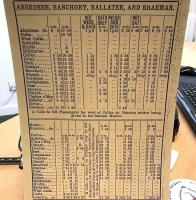 Old timetable for the Deeside line retained by staff in the estate office at the former Dinnet station. Note the first train from Aberdeen at 8.5am covers the 41 miles to Ballater in 1 hour 40 minutes, arriving at 9.45am. Note also the motor coach connection times for the additional 16 miles to Braemar! [See image 40737] <br><br>[Andy Furnevel&nbsp;20/04/2017]