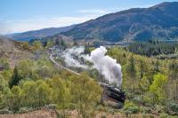 45407 heads west, winding its way out from Glenfinnan station with <i>The Jacobite</i>. Loch Shiel is in the background right.<br><br>[Ewan Crawford&nbsp;04/05/2017]