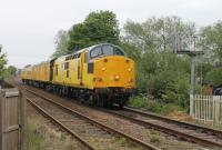 97301 (the former D6800) approaches the level crossing at Egginton Junction on 8th May 2017 hauling a measurement train from Derby towards Uttoxeter and Stoke-on-Trent.<br><br>[Mark Bartlett&nbsp;08/05/2017]