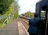 The 15.38 to Barnstaple crosses an Exmouth-bound service at Crediton on 15 April 2017 [see image 43525].<br><br>[Ken Strachan&nbsp;15/04/2017]