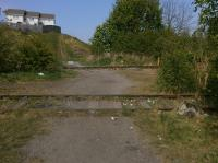 The site of the west throat of Kirkland Yard, Leven, on 11 May.  In the foreground is the long-disused line to Methil Power Station and docks.  Beyond is the demonstration track of the KFRPS depot which ends a hundred yards or so to the left.<br><br>[Bill Roberton&nbsp;11/05/2017]