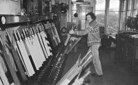 Garnqueen North Junction Signal Box in 1980. I am reliably informed by Joe McLaughlin that the signalman is Eddie Berry (Joe was Eddie's relief).<br><br>[Ian Millar&nbsp;//1980]