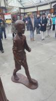 This bronze sculpture unveiled today of a boy by Angela Hunter was commissioned by the Friends of Wemyss Bay Station to mark the 150th anniversary of the first train in 2015, recent completion of a major restoration by Network Rail and this year's 50th anniversary of electric trains coming to Inverclyde.<br><br>[John Yellowlees&nbsp;13/05/2017]