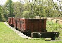 A pair of elderly coal wagons resting in the goods bay at Causey Arch station on a warm and pleasant day in May 2006. [See image 58758]<br><br>[John Furnevel 09/05/2006]