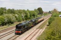 Taken on the eastern outskirts of Swindon, 34052 (aka 34046) & 46100 pass westbound light engine to Bristol as part of the Great Britain Experience. Back through Swindon at 1900 hours on Sunday.<br><br>[Peter Todd&nbsp;05/05/2017]