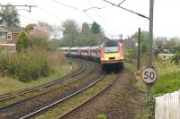 A northbound HST rounds the notorious Morpeth Curve [see image 33304] on 29 April 2017 on the southern approach to Morpeth station.<br><br>[John McIntyre&nbsp;29/04/2017]
