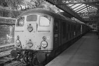 <I>Skinhead</I> BR Type 2 5015 and BRCW 5307 await departure from Edinburgh Waverley with the 'Scottish Steam Special No.3' on 8th September 1973. A4 60009 would take over from Inverkeithing.<br><br>[Bill Roberton&nbsp;08/09/1973]