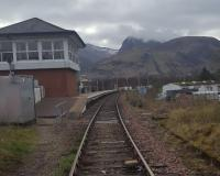 Heritage Railway Association visit to Banavie: view towards Fort William and Ben Nevis with the signalling centre to the left and swing bridge behind the camera.<br><br>[John Yellowlees&nbsp;02/04/2017]