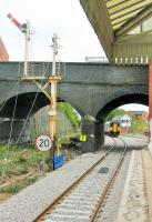150201 leaves Poulton and negotiates the 20mph curve on the last leg of a Buxton to Blackpool North service on 6th May 2017. This image shows the changing infrastructure at the station with the recently removed junction for the Fleetwood line and the associated signalling. [See image 30943] from 2010.<br><br>[Mark Bartlett&nbsp;06/05/2017]