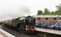 A1 60163 Tornado, westbound through Hungerford on a wet and windy 17th May 2017, heading for Bristol Temple Meads with the Belmond British Pullman stock.<br> <br><br>[Peter Todd&nbsp;17/05/2017]
