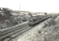 A St Enoch - Barrhead train photographed near Darnley on 4 August 1955 behind ex-Caledonian 0-6-0 57560. [Ref query 1021] <br><br>[G H Robin collection by courtesy of the Mitchell Library, Glasgow&nbsp;04/08/1955]