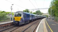 A Helensburgh bound train draws to a stop at Dalreoch on 18th May 2017.<br><br>[Beth Crawford&nbsp;18/05/2017]