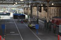 From 21 May the 'Motorail' sidings will be taken out of use for more than a year pending construction of new extended platforms 5 and 6.<br> <br> Looking east from the Market Street Footbridge over the site of new platforms 5 and 6.<br><br>[Bill Roberton&nbsp;08/05/2017]