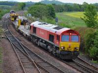 DB red 66101 leads an Elgin - Millerhill engineers train past Inverkeithing East Junction.  66050 is on the rear.  30 May.<br><br>[Bill Roberton&nbsp;30/05/2017]