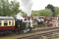 Having completed some leisurely shunting in the yard at Quorn, LMS <I>Jinty</I> 3F 0-6-0T 47406 departs for Rothley hauling a 3 coach local train. <br><br>[Peter Todd&nbsp;06/05/2017]