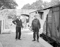 Posing alongside the last goods at Gordon station on 16 July 1965. The train was on its way back from Greenlaw to St Boswells [see image 58669].<br><br>[Bruce McCartney&nbsp;16/07/1965]